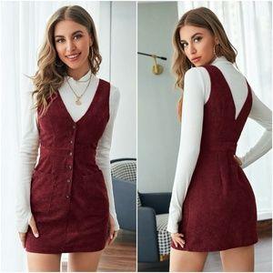 button down corduroy pocket mini dress WINE